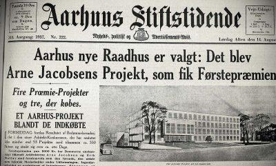 Forsiden på Aarhuus Stiftstidende 14. august 1937 fortalte om vinderprojektet. Bygningen havde endnu ikke fået sit tårn